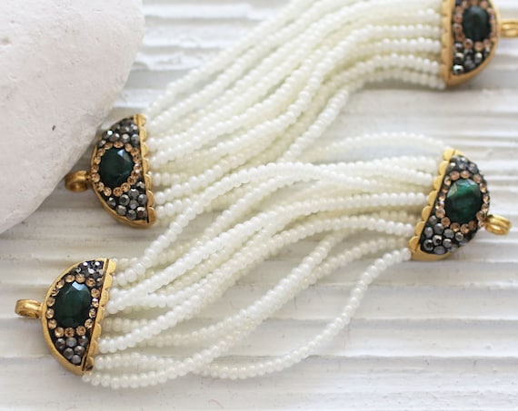 Gemstone connector, pave connector with emerald gemstone, beaded pendant connector with pave bars, wedding bracelet necklace earrings dangle