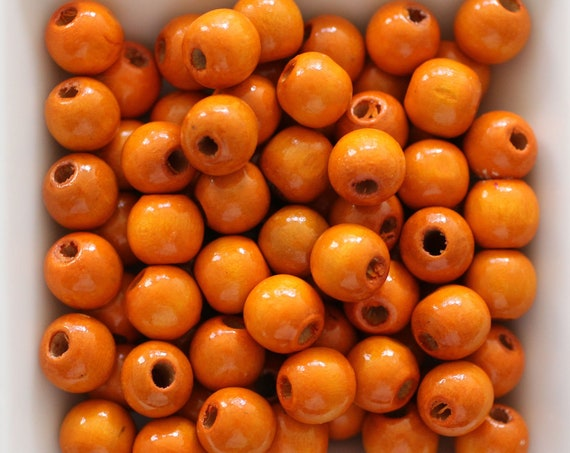 "10mm wood beads, mala beads, 20pc, 40pc, 8"" 16"" loose beads, orange round wooden necklace beads, bead spacer natural wood bracelet beads,N26"
