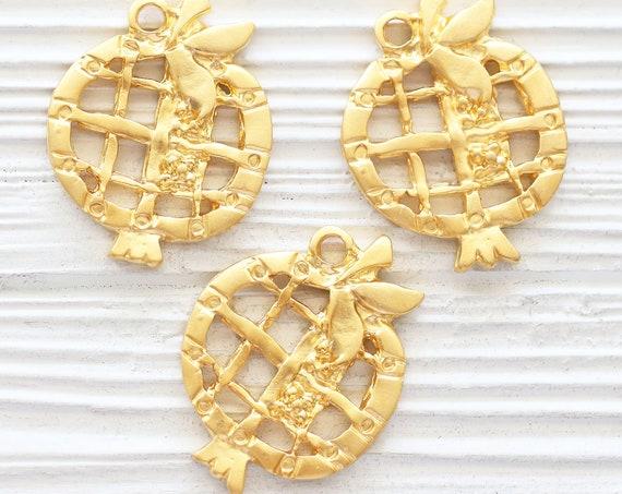 Pomegranate pendant, pomegranate jewelry, gold pomegranate charm, earrings charms, rustic pomegranate, fruit pendant,decorative pomegranate