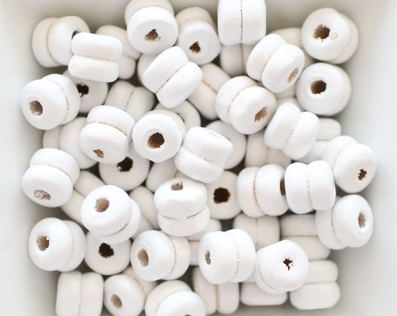 9mm white wood beads, rondelle natural wood bracelet beads, barrel wood beads, 20pc, 40pc, loose mala beads, wooden necklace beads, N4
