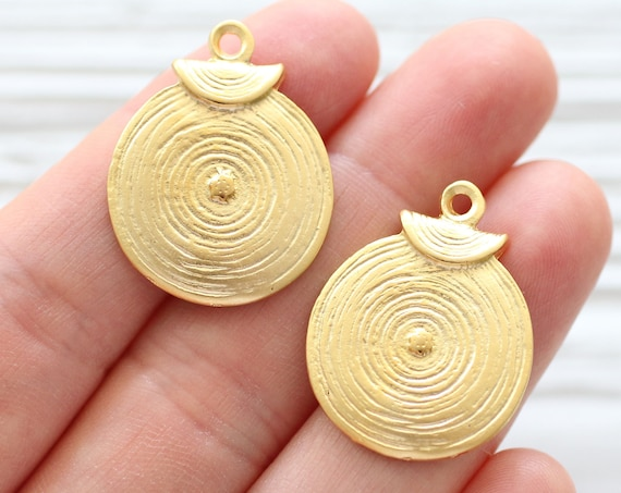 2pc spiral earring charms gold, tribal charms, just dangles, spiral pendant, gold charms, spiral necklace charm, metal charms, large charms