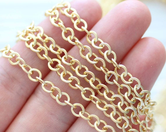 3.3 feet 5mm round link chain, 24K gold plated large link chain, chain, matte gold chain, necklace chain, jewelry chain, thick round chain