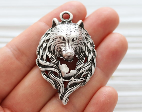 Wolf pendant silver, silver wolf, animal pendant, wolf, natural findings, wolf necklace pendant, silver pendants, filigree findings