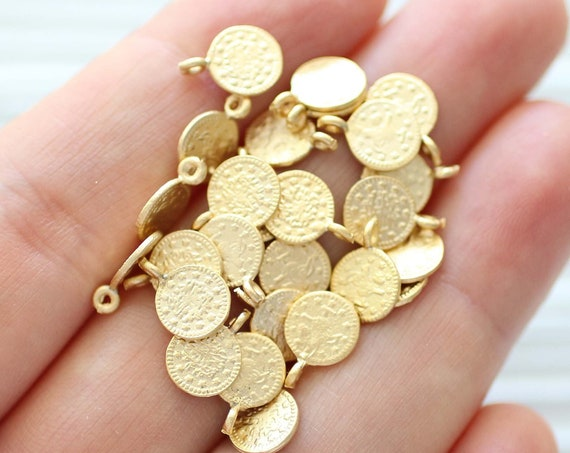 10pc coin charm, gold coin disc beads, metal coins, necklace coin gold, replica old coins, gold charms, bracelet charms, earring charms, S