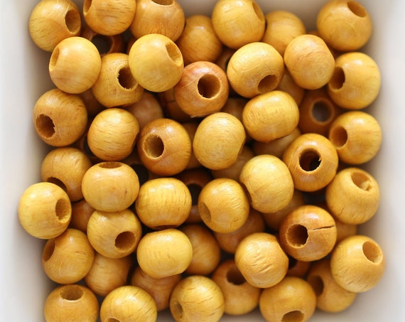 "10mm wood beads, mala beads, 20pc, 40pc, 8"" 16"" loose beads, yellow round wooden necklace beads, bead spacer natural wood bracelet beads,N29"