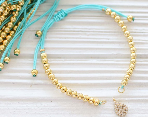 Gold bracelet blank with sliding knot, aqua blue adjustable DIY cord bracelet, semi-ready friendship bracelet, string bracelet, CB42