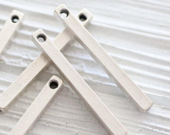 2pc bar pendant silver, square bar pendant, bar charms silver, earrings charms, rustic boho pendant, vertical stick pendant silver