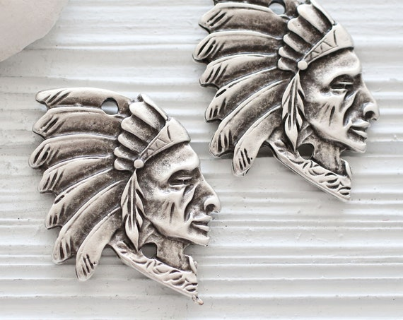 Indian chief pendant, chief head pendant with headdress, native American face jewelry pendant connector, silver focal findings