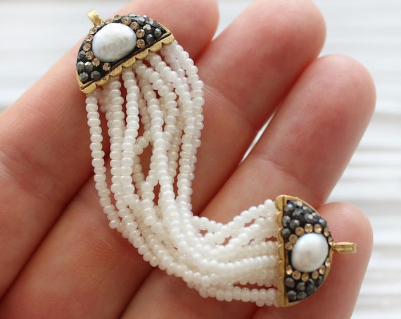 Pearl connector, pave connector with pearls, ivory beaded pendant connector with pave end bars, wedding necklace earrings pearl dangle