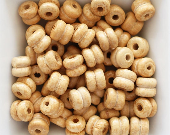 9mm natural wood beads, beige rondelle wood bracelet beads, barrel wood beads, 20pc, 40pc, loose mala beads, wooden necklace beads, N34