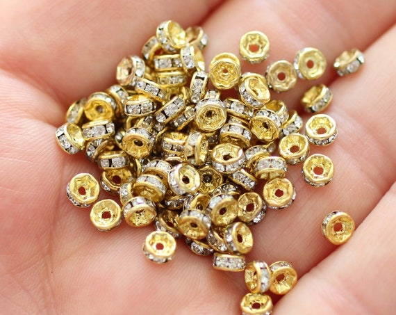 10pc, 4mm rhinestone rondelle beads, pave beads, cz beads, loose rhinestones, rhinestone rondelles, rhinestone gold bead spacers
