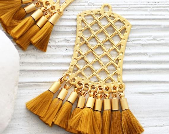 Tribal tassel pendant, filigree pendant with amber tassels, earrings dangle pendant, mustard brown tassel charm gold, filigree findings