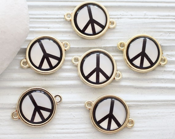2pc peace charm connector, peace sign pendant, earrings charm, glass round beads, peace beads, bracelet necklace jewelry connector