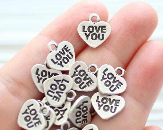 10pc heart charm, love you charms, necklace charms silver, heart charms for bracelet, stamped heart pendant, heart dangle, earrings charms