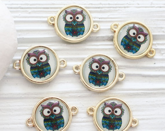 2pc owl charm connector, animal findings, earrings pendant charm, glass round connector, bracelet connector, necklace, bracelet connector