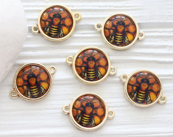 2pc bee pendant connector, bee charm, flower fly charm pendant, earrings charms, round glass animal beads, necklace bracelet connector