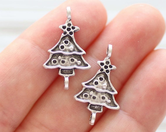 5pc Christmas tree connector, Christmas charms, Christmas jewelry findings, earring charms, bracelet connector, necklace charms silver