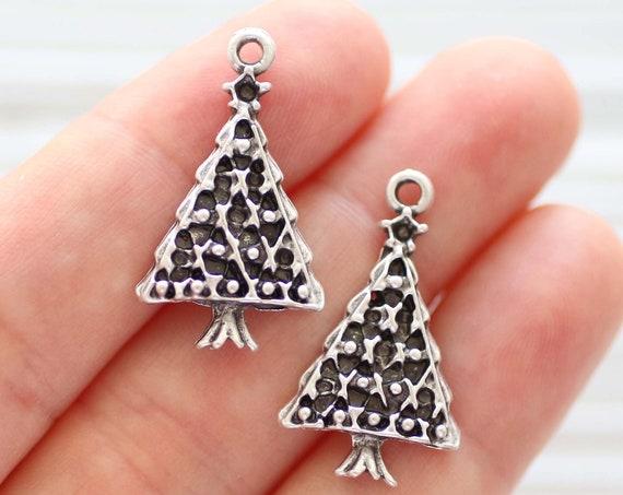 5pc Christmas tree charm, Christmas jewelry charms, Christmas charms silver, earring charms, tree charm bracelet, necklace, silver charms