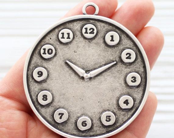 Clock pendant, watch pendant silver, large pendant dangle, silver pendant, home decor accessory, silver findings, long necklace pendant