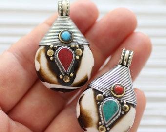Bone pendant, Tibetan pendant, turquoise coral inlay focal pendant, drop pendant, gemstone pendant, teardrop, Nepal tribal pendant