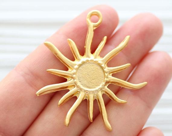 Ancient sun pendant, sun pendant, sun charms, celestial sun, sunburst charm,  celestial sun dangle pendant, earrings charm gold