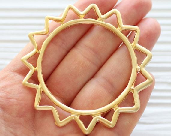 Sun pendant gold, celestial pendant gold, ancient sun pendant, large tribal sun pendant, sunburst pendant, celestial sun connector