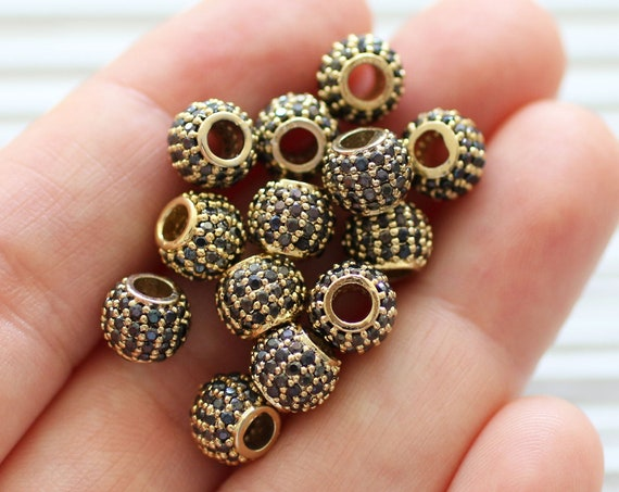 2pc, 8mm black rhinestone rondelle beads, gold rhinestone beads, pave beads, Christmas jet stone beads, rondelles, bead spacers, large hole
