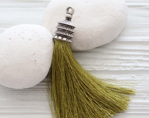 Olive green tassel, keychain tassel, purse tassel charm, silk tassel, tassel pendant, necklace jewelry tassel, pagoda silver cap tassel, N32