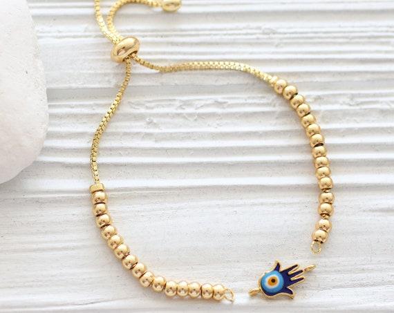 Gold bracelet blank with sliding stopper, adjustable DIY bead bracelet, semi-ready, gold friendship bracelet, chain bracelet blank, C1