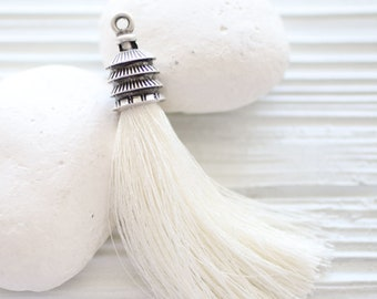 Silver cap ivory silk tassel, long silk tassel, silk tassel pendant,off white silk tassel,jewelry tassels,decorative tassels,pearl tassel,N2