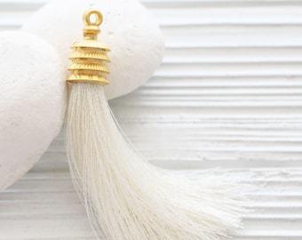 Ivory silk tassel, gold cap silk tassel, large long tassel, jewelry tassel, necklace tassel, tassel pendant, pearl silk tassel, off white,N2