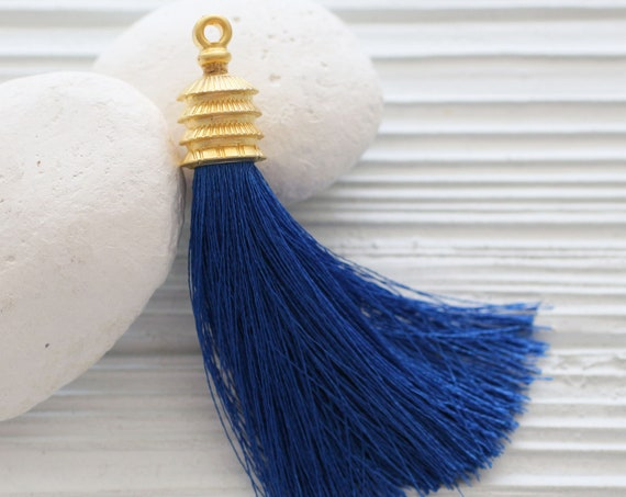 Cobalt blue silk tassel, gold cap silk tassel, tassel pendant, large long tassel, jewelry tassels, decorative, necklace tassel, navy, N16