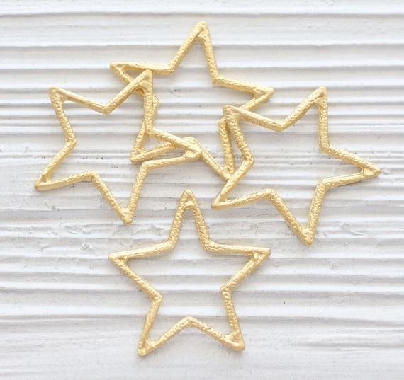 Star pendant gold, star earrings charm, gold pendants, star, hammered star pendant, large star pendant gold, star charm, earrings dangle