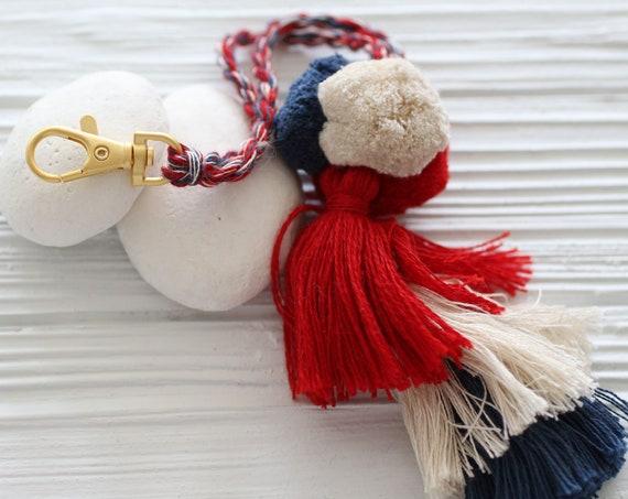 Red beige navy pom pom tassel, purse charm, multicolor pom poms tassel bag charm, keychain pom poms, knob decorative pom poms, tassel swags