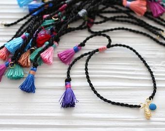 Adjustable black cord bracelet with tassels, DIY cord bracelet, cord bracelet blank, adjustable friendship bracelet string, DIY bracelet, N8