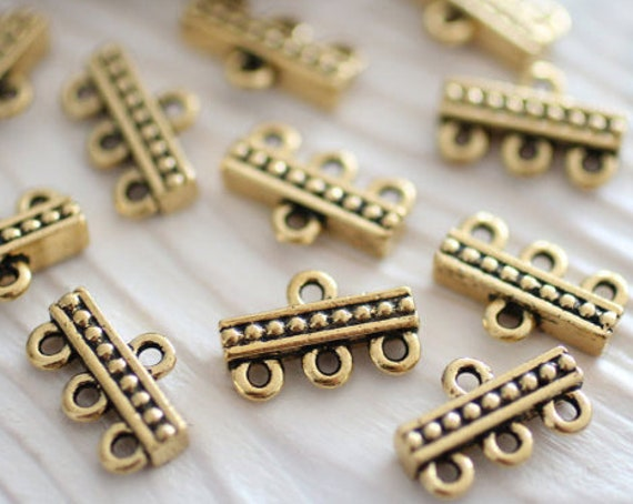 4pc antique gold jewelry connector, multi strand connector, necklace connectors, gold connectors,gold links, end bars, gold beads,TierraCast