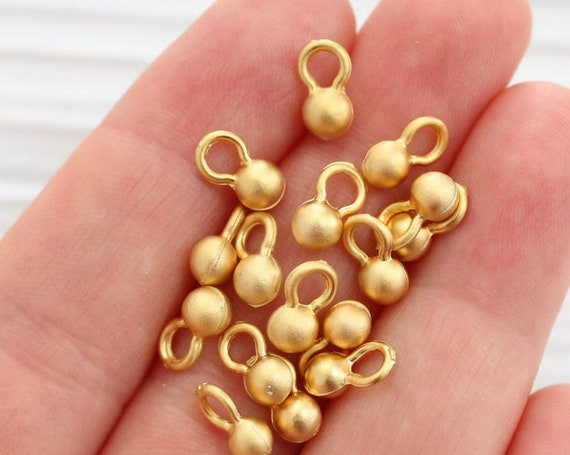 10pc gold ball beads, earring charms, gold bead spacers, matte gold beads, metal charms, drop charms, rustic ball charms, gold round beads