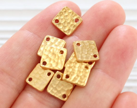 4pc gold square diamond connector, gold metal connector beads, hammered beads, gold square beads, jewelry connector, Tierracast, metal beads