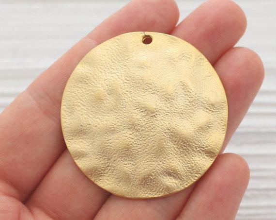 Hammered gold pendant, large round pendant, metal necklace pendant, large medallion pendant, gold tribal pendant,rustic,boho, gold medallion