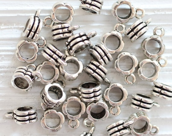 3pc silver bail, pendant bails, antique silver bails, bails, metal spacer, silver spacer, metal beads, large hole bails, jewelry findings