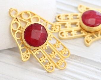 Gold filigree Hamsa pendant with gemstone, red jade pendant, gold Hamsa pendant, red gemstone pendant, filigree jade pendant, Hand of Fatima