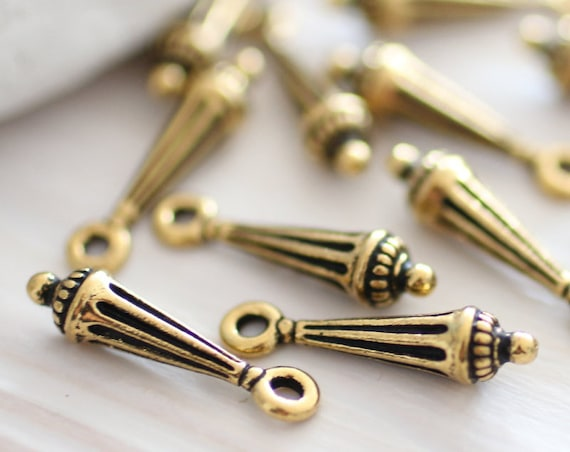 4pc antique gold charms, column charms, dagger beads, large hole beads, metal charms, TierraCast, bracelet earring charms,metal beads, stick