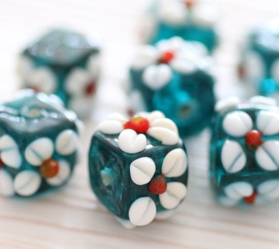 4pc lampwork focal beads, artisan glass beads, lampwork glass beads, flower beads, blue glass bead, spacer beads, bracelet beads, daisy bead