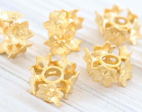 2pc gold spacer beads, slider beads, large hole beads, gold large spacers, rustic beads, bead spacer, flower beads, gold flower findings