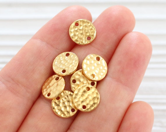 4pc gold round connector, gold metal connector beads, hammered beads, gold round beads, jewelry connector, gold disc beads, Tierracast