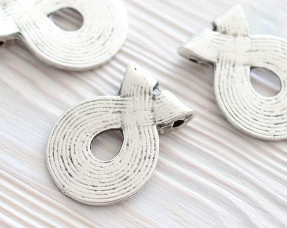 Silver tribal pendant, metal pendants, round pendants, boho findings, spiral pendant, rustic, antique silver findings, antique pendant