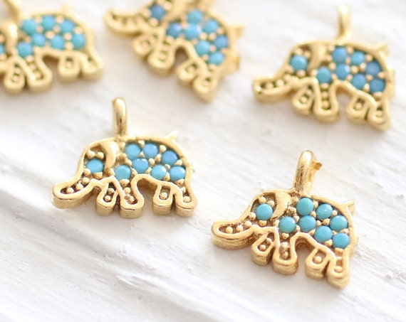 Gold elephant charm, earring charm, bracelet charms, gold charms, bead charms, elephant pendant, dangles, elephant charms, elephant