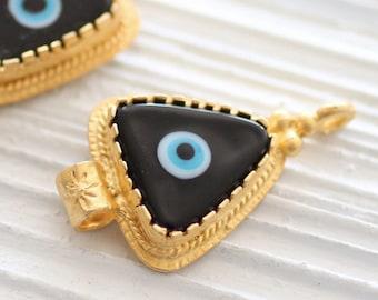 Black evil eye pendant, gold connectors, ornate, evil eye findings, evil eye connector, evil eye, gold bezel, evil eye jewelry, glass beads