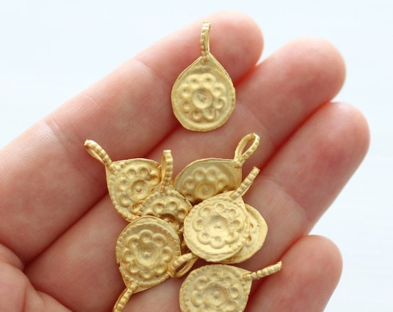 5pc matte gold earring charms, flower charm, bracelet charms, gold charms, round charm, dangles, tribal charms, metal charms, gold beads