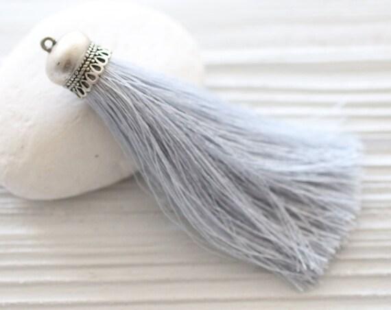 Light gray silk tassel with silver cap, grey silk tassel, silver gray, tassel pendant, long tassel, jewelry tassels,gray necklace tassel,N12